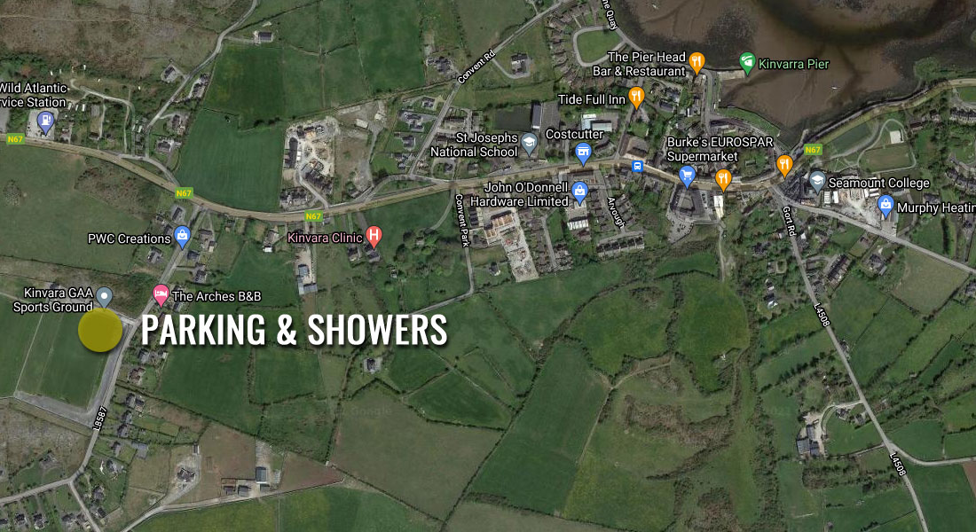 Showers will be available at the local GAA grounds.